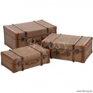 J-Line Set Van 3 antieke Koffers Rotan Antiek Jline-by-Jolipa-72606