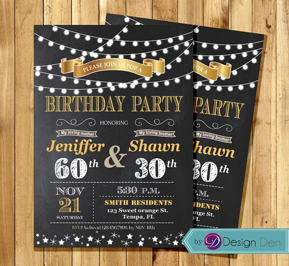 Adult Joint Birthday Invitation. String light Invitation/Chalkboard/Combined Party/GOLD. #A1017 ...