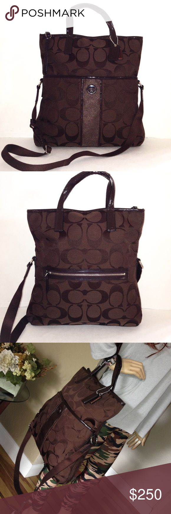 Coach Overnight Travel Gym Tote Crossbody Bag Same day shipping! 📦📦📦 New Authentic Coach Signature Stripe Foldover Overnight Travel Gym Diaper (no changing pad) Crossbody Tote. Signature fabric with patent leather mahogany trim. Inside zip, cell & multifunction pockets. Exterior slip pocket with snap fastening and exterior zipper pocket for all of your at-hand essentials. Spacious enough to carry smaller electronic devices.  Coach Bag No. G1361-F23304 Coach Bags Totes