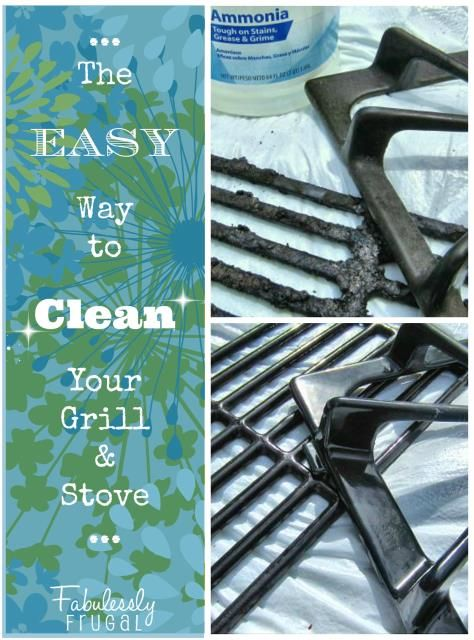 EASIEST way to clean grill grates and stove burners. One cheap ingredient needed and you can just wipe the gunk off. No scrubbing.