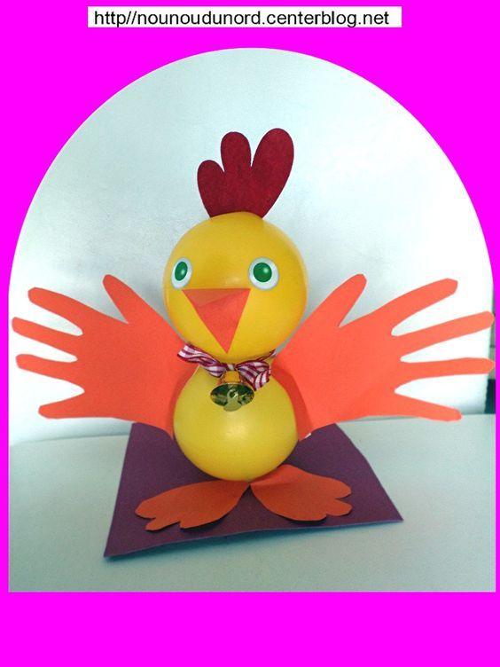 poussin ou poulette réalisé avec des balles en plastique jaunes par Maïa 3 ans  cliquez sur le lien pour voir la réalisation  http://nounoudunord.centerblog.net/4652-lapin-lapine-et-poussin-crees-avec-des-boules-en-plastique