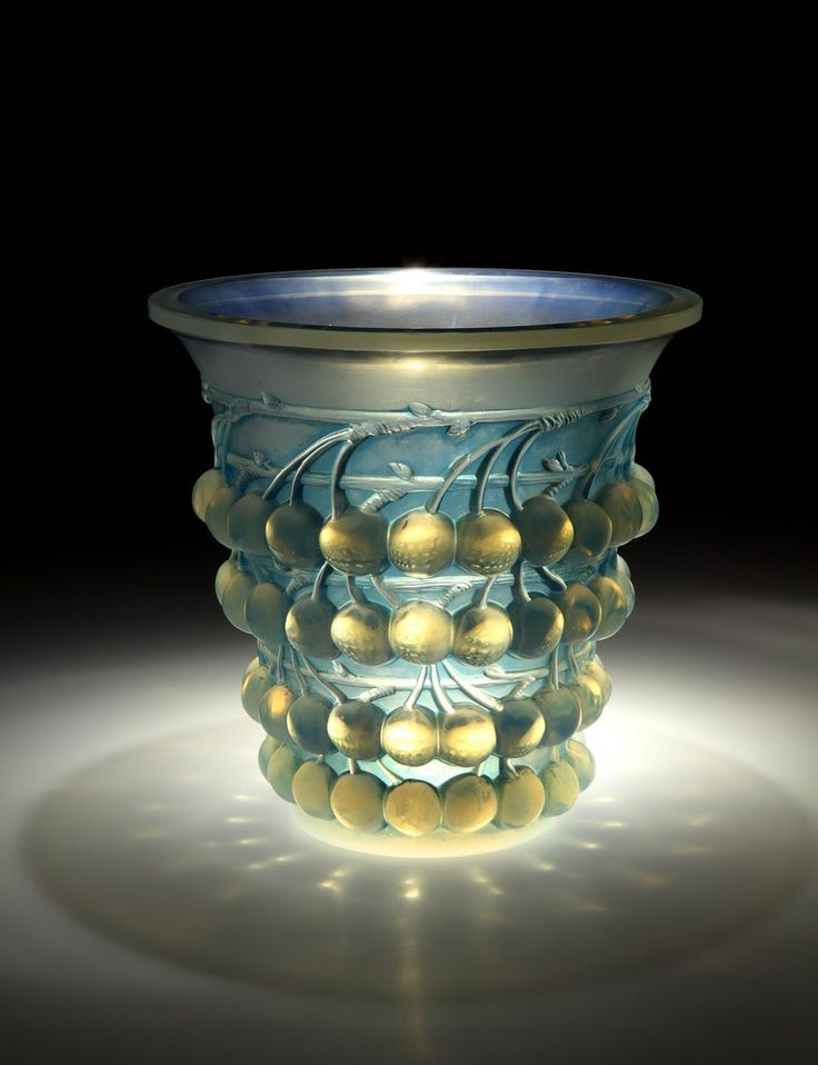 'Montmorency' (Cherries) Vase by René Lalique (French, 1860-1945), c. 1930