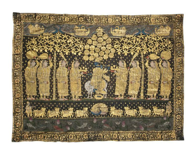 A PICCHVAI OF KRISHNA AND THE GOPIS  NORTH INDIA, 19TH/20TH CENTURY  Of rectangular form, painted on cotton and depicting Krishna