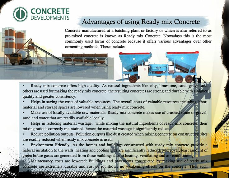 Ready mix concrete makes use of crushed stone or gravel, sand and water that are readily available locally. More details log on http://www.concretedevelopments.com/