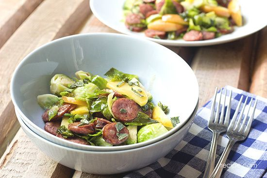 Brussels Sprouts with Sausage and Apples