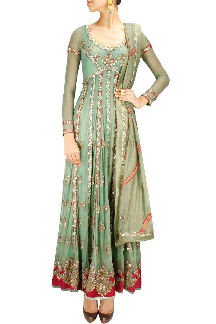 ASHIMA LEENA Sage green gota patti embellished anarkali set Product Code - ALNC2M1014L09 Price - S$ 5,200