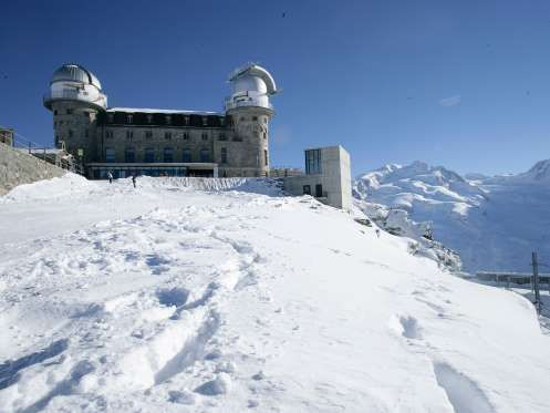 MOUNTAIN-TOP HOTELS: 3100 KULMHOTEL GORNERGRAT, ZERMATT, SWITZERLAND | The 3100 Kulmhotel Gornergrat is the highest hotel in the Swiss Alps, located 10,000 feet above sea level. The hotel was built in 1896 & also houses an observatory – the domes provided a vantage point from which scientists would look into space. Today, the observatory is still used by scientists. The view is equally spectacular from the hotel's sun terrace, where you can take in the stunning views of Matterhorn.
