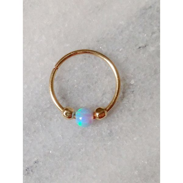 20 22 Gauge Gold with Opal Bead/Nose Ring,Nose Hoop,Nose Ring With... ($14) ❤ liked on Polyvore featuring jewelry, bead jewellery, beaded jewelry, gold jewelry, opal jewelry and yellow gold jewelry