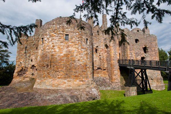 Round tower of 13th century Dirleton Castle, Scotland