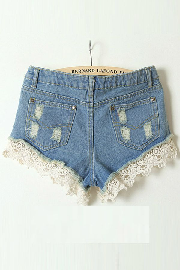 Lace Edge Washed Denim Short in Light Blue [FJCE0139] - PersunMall.com