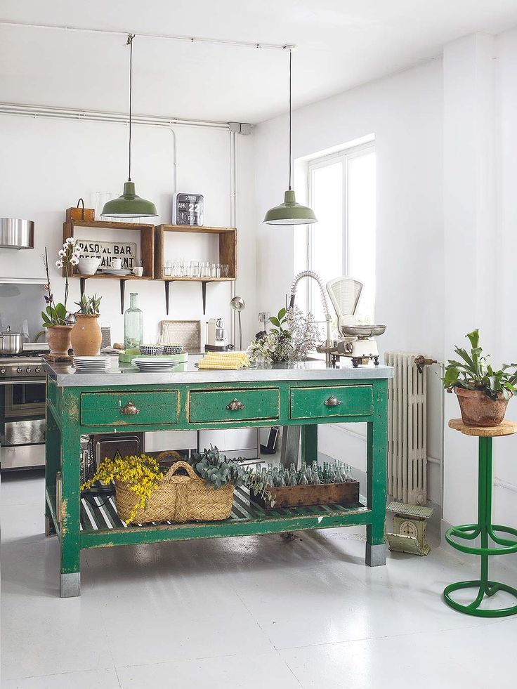Love The Rustic Charm Of This Kitchen Green Factory Lights And That Work Table Turned Island Makes Room Stand Out
