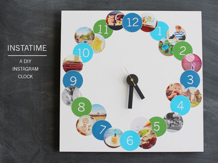 create a pictorial clock for your kids using photos from instagram that let them know what's supposed to happen at each hour of the day.: Diy Clocks, Dorm Room, Diy Crafts, Cute Photo, Clocks Diy, Instagram Clocks, Diy Instagram, Colleges Dorm, Pictures Clocks