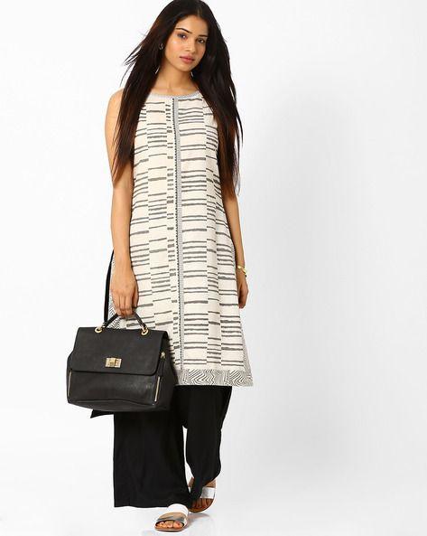 Buy Off-White Rangmanch by Pantaloons Kurta with High-Low Hem