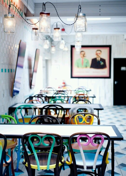 love any and all interiorsexteriors that incorporate multi colored painted flea market chairs dishoom chowpatty beach pop up southbank london - Multi Cafe Decoration