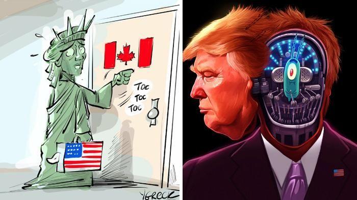 Donald Trump Menang Pemilu - Ini 10 Gambar Kartun Lucu dari Kartunis Dunia, Jleb Banget Sob!