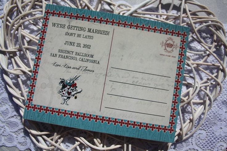 FREE SAVE THE DATE!  Super Cute Vintage Alice in Wonderland Wedding Theme Printable Postcard! yay!