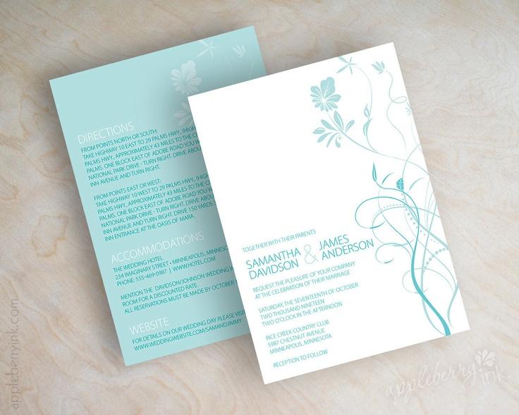 Teal Invitations Wedding: Wedding Invitations, Swirly Flower Vines In Light Teal