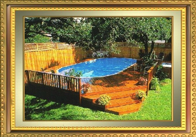 Above Ground Pool Deck Plans   Redwood deck adds to the enjoyment of this above-ground pool .