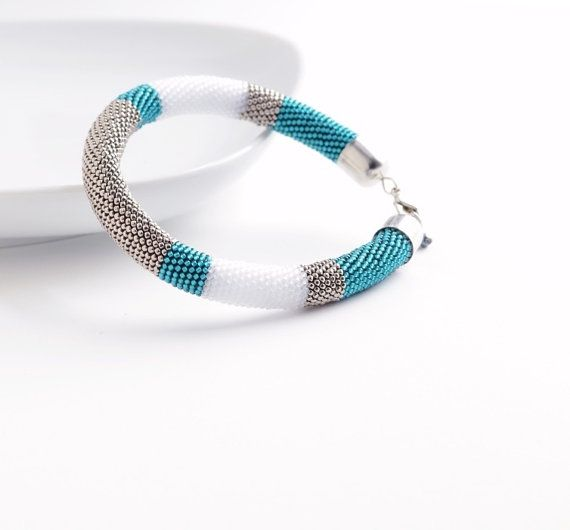 Silver Turquoise Bangle, Beaded Bracelet, Color Block Modern Geometric Bangle, Silver Teal Bracelet Minimalist Style