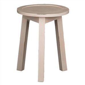 Solid Timber Round Lamp Table in Rose White - 45cm