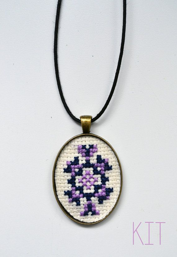Cross Stitch Necklace Pendant Embroidery Kit by RosiesRagsCrafts
