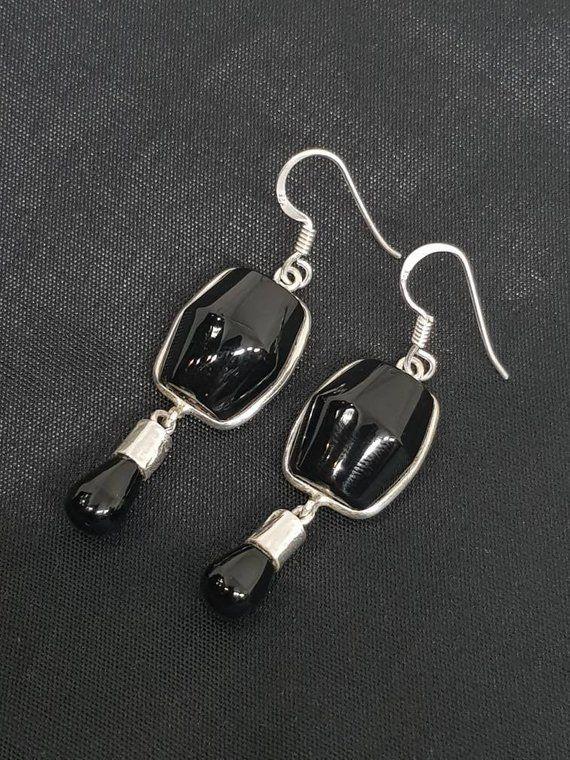 8178ca245 Onyx Earrings, 925 Silver Earrings, Sterling Silver Earrings, Black Stone  Earrings, Art deco earrings, Bezel Earrings, Statement Earrings in 2019 |  Stuff to ...