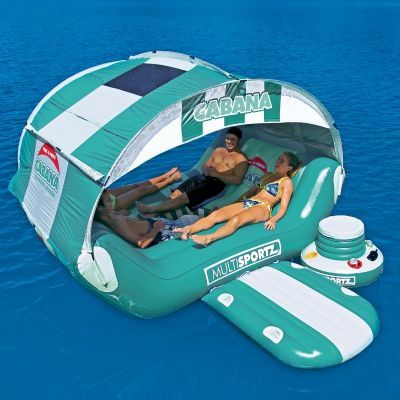 I want one!!!! Cabana Islander Inflatable Island Raft for $459.95 #InflatableRaftsIslands #PoolBeach