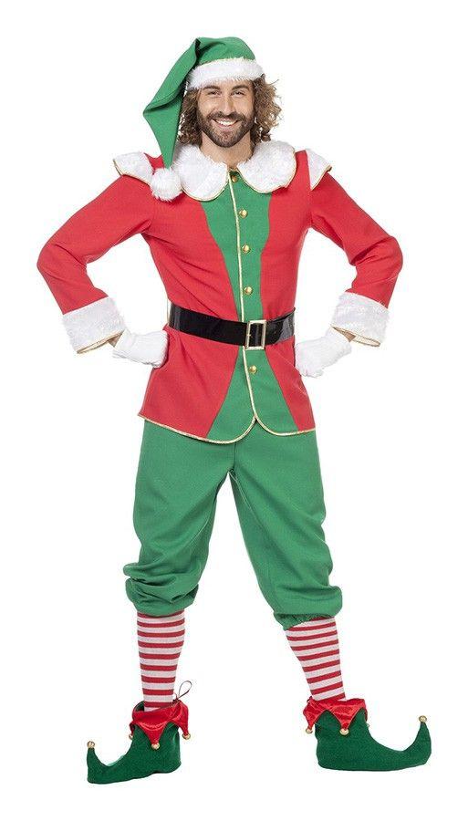Herenkostuum Kerst Elf Rood/Groen   Carnavalsland