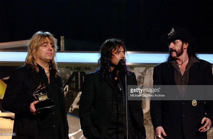 Phil Campbell, Mikkey Dee and Lemmy Kilmister of Motorhead, winners of Best Metal Performance for 'Whiplash' (Photo by M. Caulfield/WireImage for The Recording Academy (View ONLY))