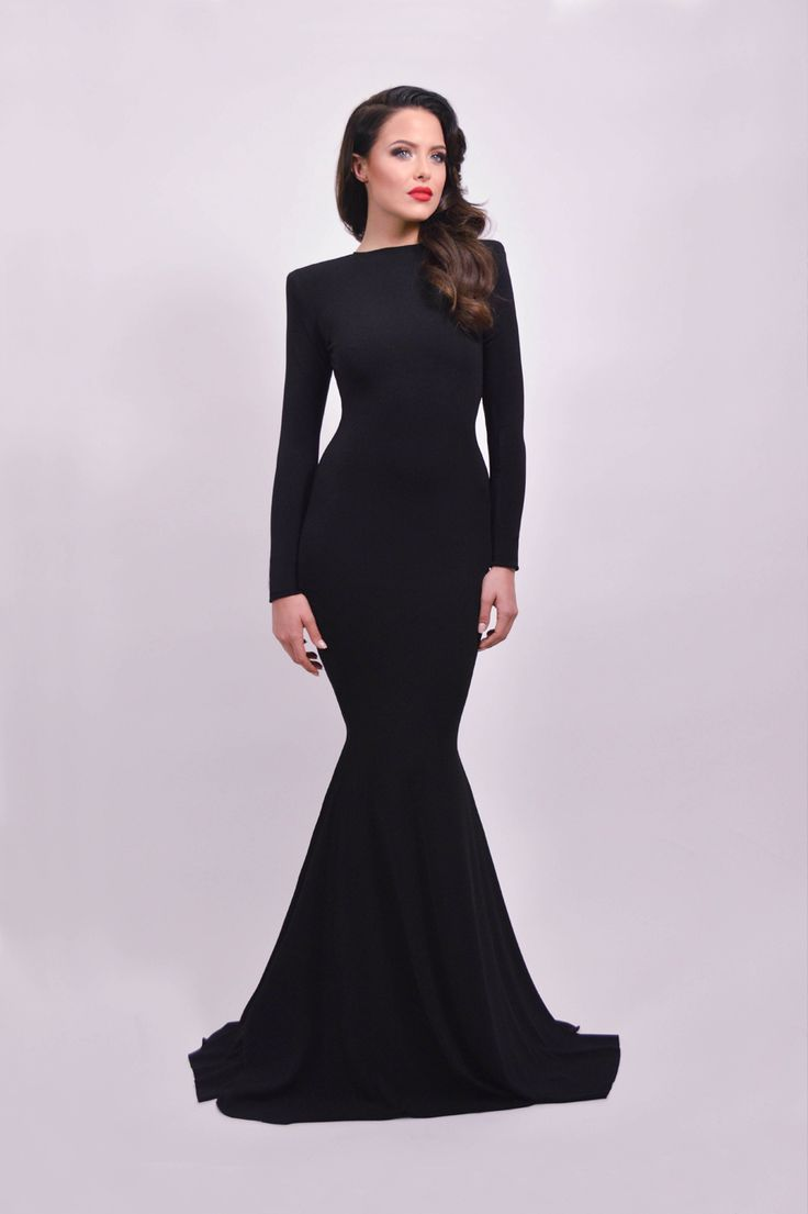 2016 Newest Long Mermaid Prom Dresses,Sexy Sheath Evening Gowns,Open Back Evening Dresses,Long Sleeves Black Prom Dress,Prom Dresses For Teens,Charming Party Prom Dresses