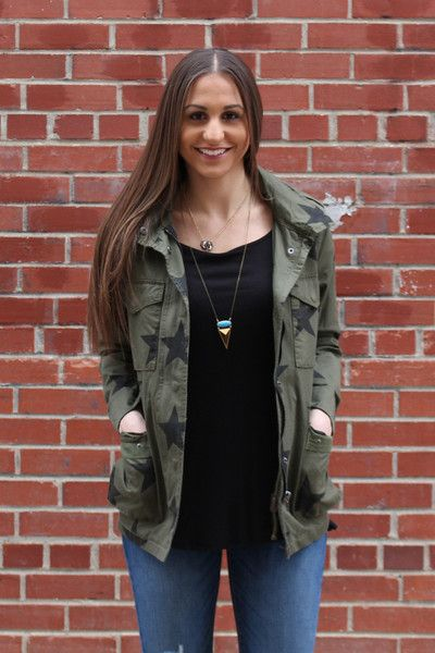 """Military jacket with button and zip closure. 100% Cotton Model is 5'7"""" wearing a…"""