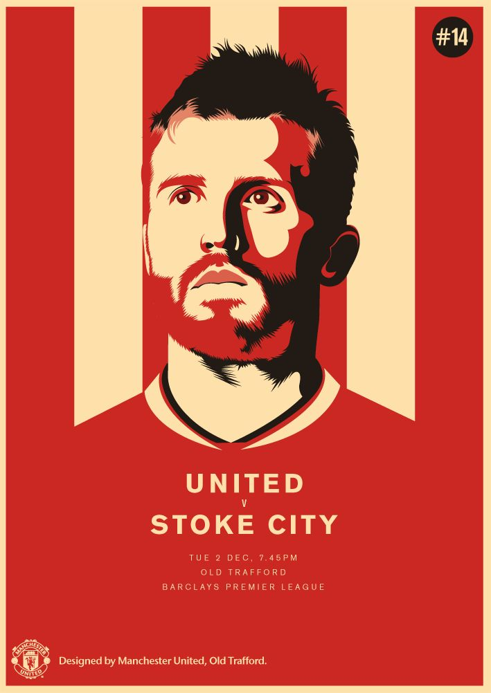 Match poster. Manchester United vs Stoke City, 2 December 2014. Designed by @manutd.