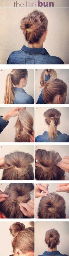 hair bun tutorial.