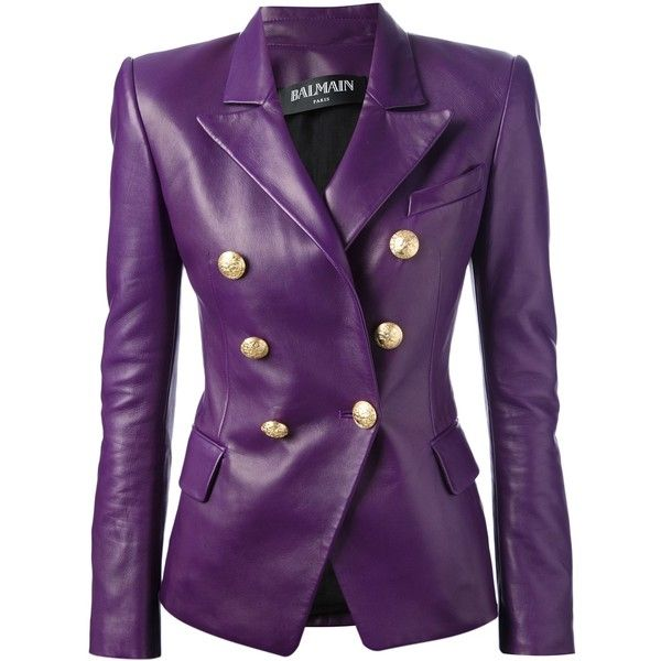 BALMAIN leather double breasted blazer found on Polyvore