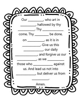 Our Father Prayer worksheet for CCD, Sunday School, and Catechism teachers, grades K, 1, 2, and 3 by Little Miss Catechist