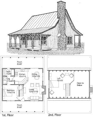 vintage house plan | How much space would you want in a BIGGER tiny house?  Cabin Plans With LoftFloor ...