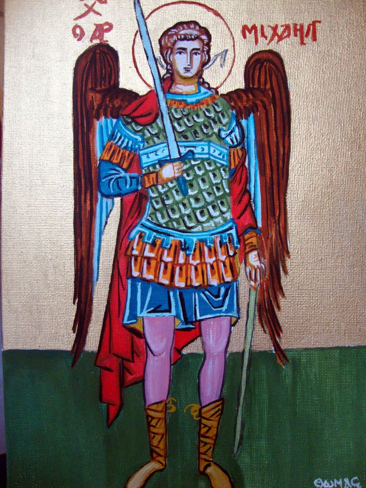 """St Michael Archangel - Hand Painted Greek Religious Icon On Board Canvas 7x9.75"""" #Iconography"""