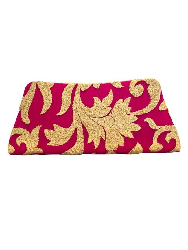 Golden Waves- Pink - Pink/Gold Weave Clutch