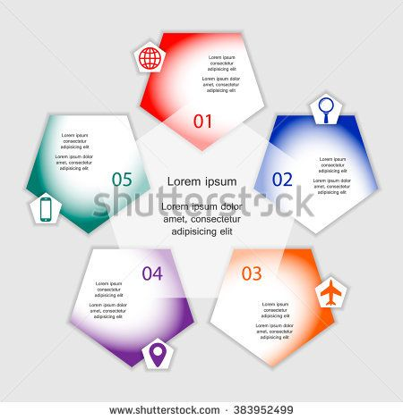 Colorful infographics template for business with 5 options or steps. Vector illustration can be used for infographic, banner, poster, web design, brochure, diagram, graph, presentation and chart