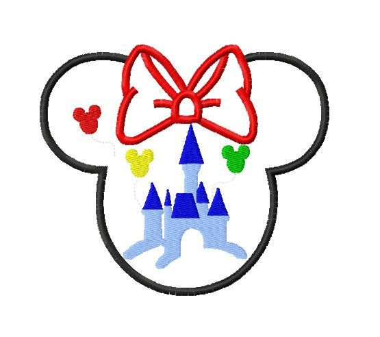 Character Applique Design : Character ears with castle embroidery applique design