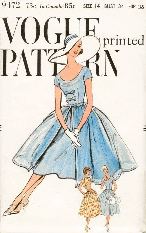 1950s 50s Flared Skirt Dress Pattern Bust 34 by LadyMarloweStudios