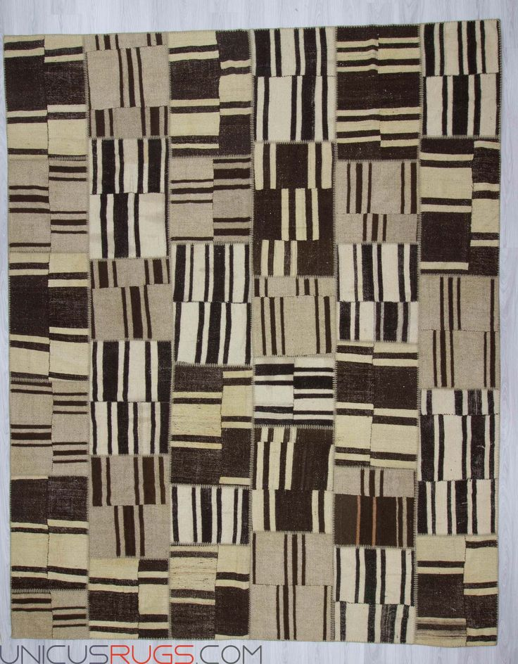 """Oversize naturel patchwork rug made from handwoven kilim pieces and backed with good quality cotton fabric as reinforcement. In good condition Width: 9' 11"""" - Length: 12' 4"""" PATCHWORKS"""