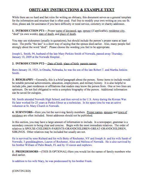 Obituary Template & Obituary Sample Format