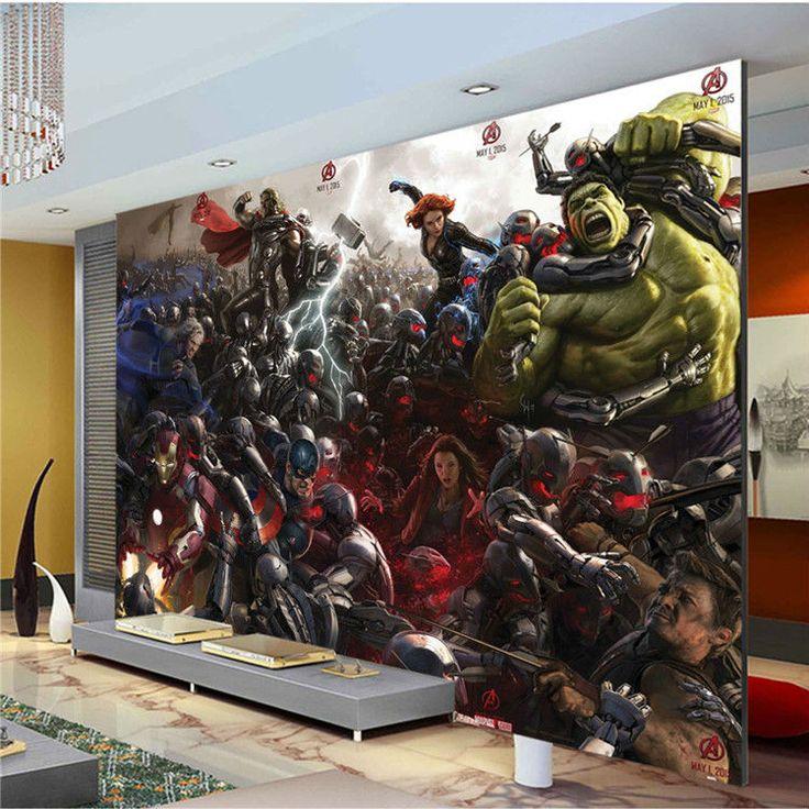 Мстители Фотообоями Тор железный человек капитан Америка Халк Обои Декор Номеров Живопись Большой wall art Дети Спальня