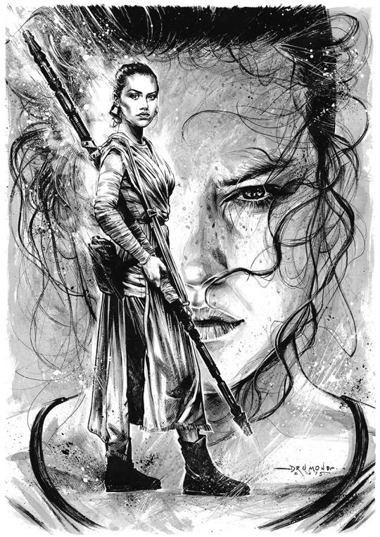 """Illustration - Star Wars fan art by Drumond Art  """"Star Wars illustrations I did, commissioned pieces and fan art. Special focus on Star Wars: Episode VII - The Force Awakens  Tools: Epson Scanner / Brushes / Pencil / Pen / Parallel Pen / Indian Ink / White Acrylic / Quink Ink"""""""