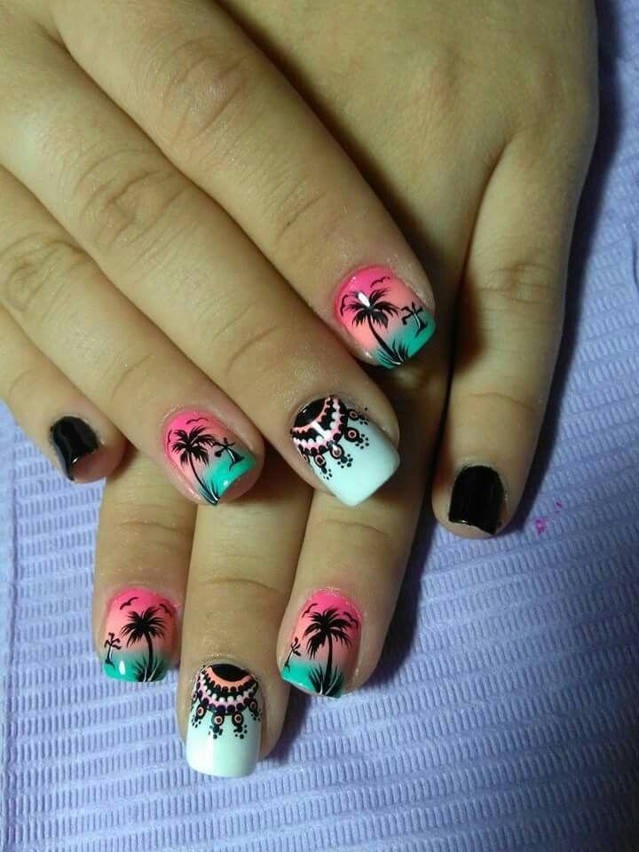 Palmeras | Uñas, Uñas decoradas, Arte de uñas