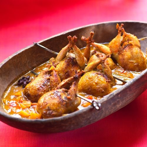 INDIAN-STYLE QUAIL IN BEET, APRICOT, AND TOMATO CHUTNEY