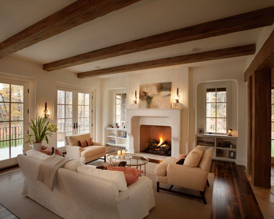 Stunning English Country House Designs: Exquisite Traditional Family Room White Sofa English Country In Northome
