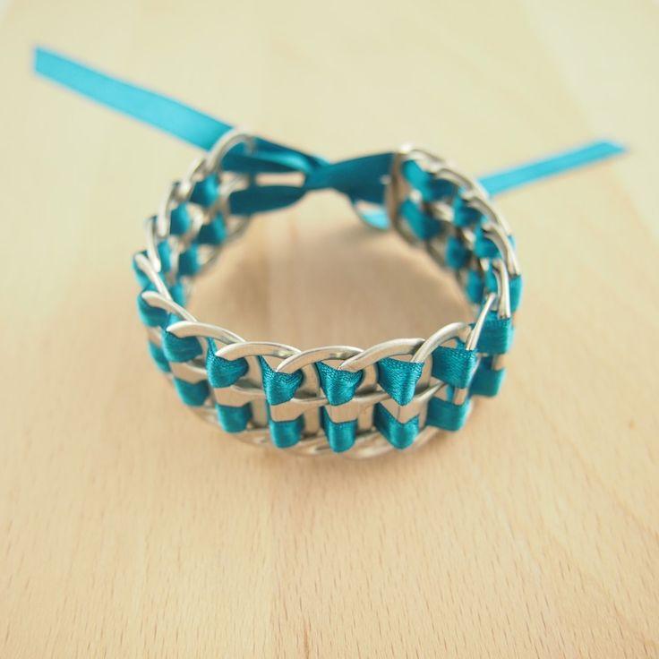 Ordinary Bijoux Fait Main Pas Cher #8: Bracelet Canettes Recyclés TURQUOISE Fait Main. Bijoux Fait Main éthique ...