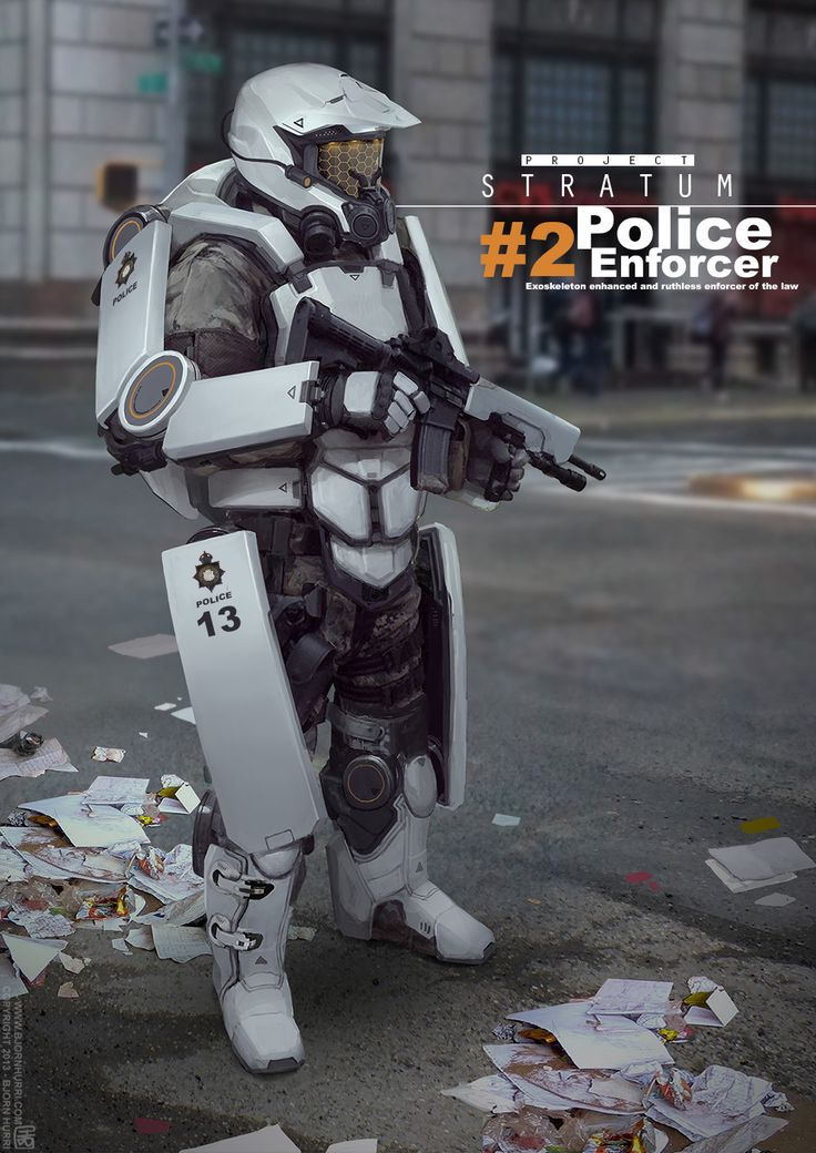 Project-Stratum -ExoSkeleton Police-Enforcer: My general idea for this concept is an exoskeleton police suit for patrolling & general use. It was great fun designing it.